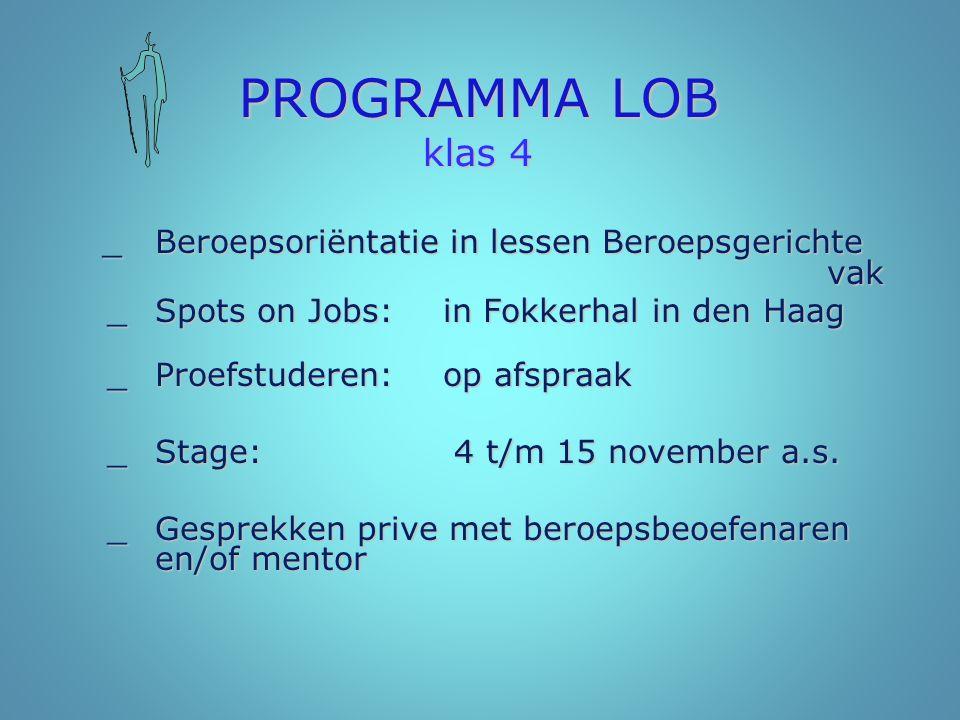 PROGRAMMA LOB klas 4 _Beroepsoriëntatie in lessen Beroepsgerichte vak _Beroepsoriëntatie in lessen Beroepsgerichte vak _Spots on Jobs:in Fokkerhal in