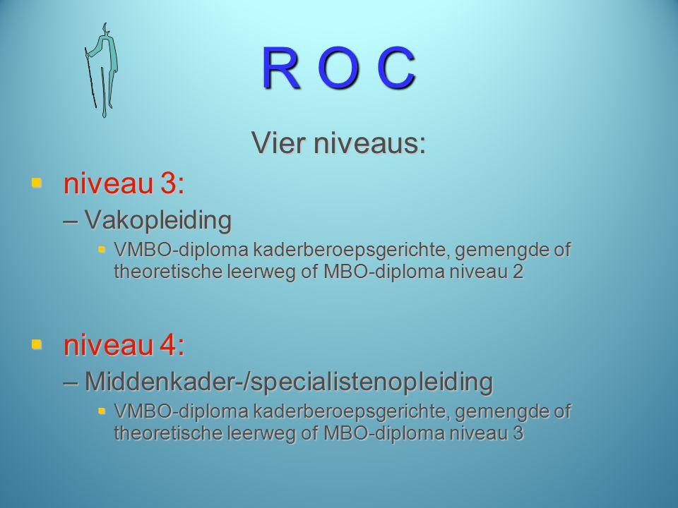 R O C Vier niveaus:  niveau 3: –Vakopleiding  VMBO-diploma kaderberoepsgerichte, gemengde of theoretische leerweg of MBO-diploma niveau 2  niveau 4: –Middenkader-/specialistenopleiding  VMBO-diploma kaderberoepsgerichte, gemengde of theoretische leerweg of MBO-diploma niveau 3