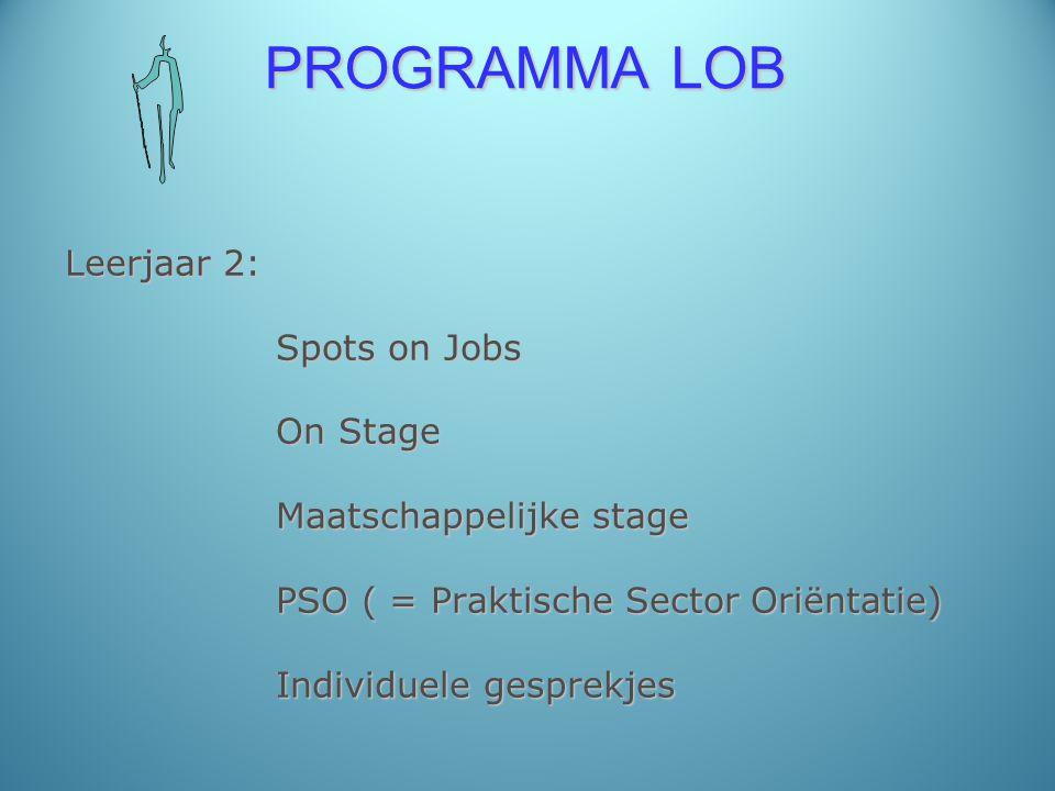 PROGRAMMA LOB Leerjaar 2: Spots on Jobs On Stage Maatschappelijke stage PSO ( = Praktische Sector Oriëntatie) Individuele gesprekjes