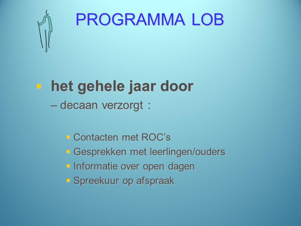 PROGRAMMA LOB  het gehele jaar door –decaan verzorgt :  Contacten met ROC's  Gesprekken met leerlingen/ouders  Informatie over open dagen  Spreekuur op afspraak