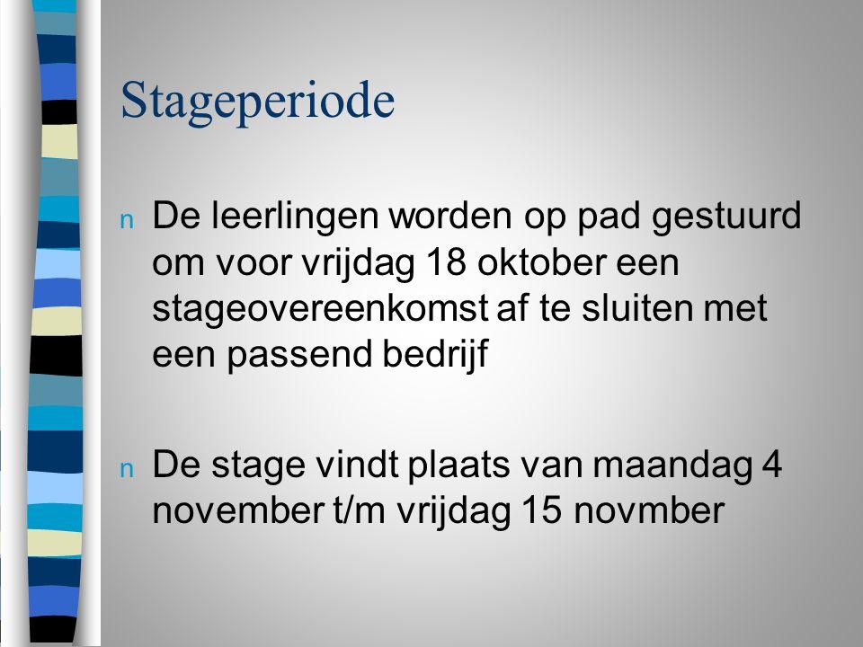 Stageperiode n De leerlingen worden op pad gestuurd om voor vrijdag 18 oktober een stageovereenkomst af te sluiten met een passend bedrijf n De stage vindt plaats van maandag 4 november t/m vrijdag 15 novmber