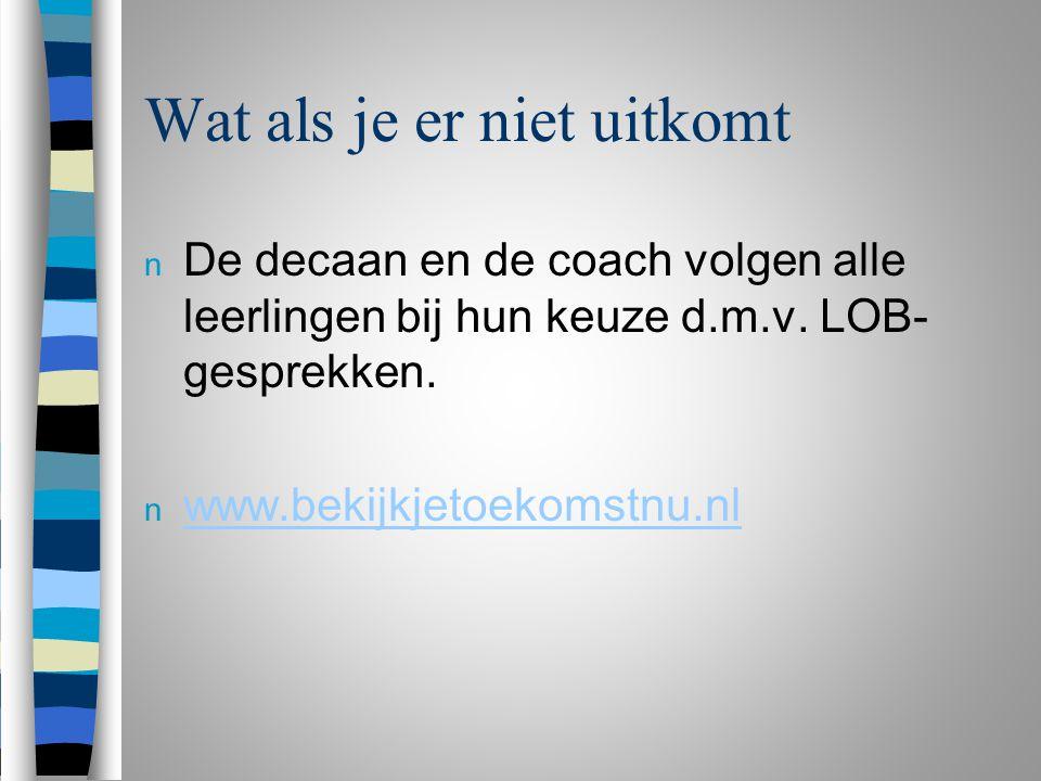 Wat als je er niet uitkomt n De decaan en de coach volgen alle leerlingen bij hun keuze d.m.v.