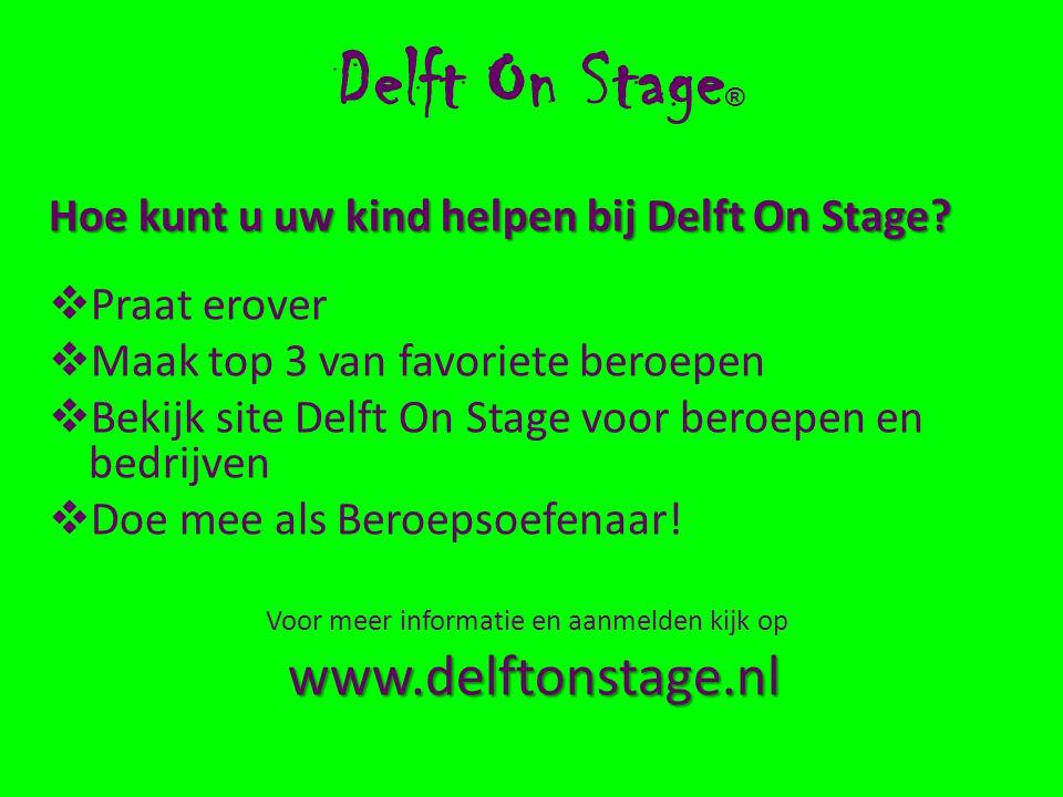 Delft On Stage ® Hoe kunt u uw kind helpen bij Delft On Stage.