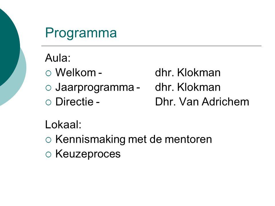 Programma Aula:  Welkom -dhr. Klokman  Jaarprogramma -dhr.