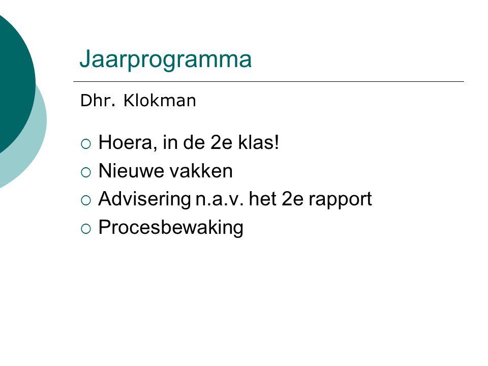 Jaarprogramma Dhr. Klokman  Hoera, in de 2e klas.