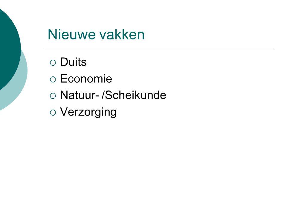 Nieuwe vakken  Duits  Economie  Natuur- /Scheikunde  Verzorging