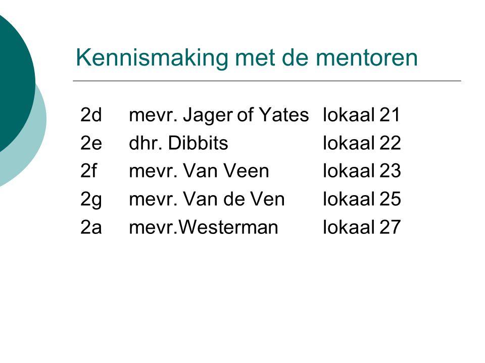 Kennismaking met de mentoren 2dmevr. Jager of Yates lokaal 21 2e dhr.