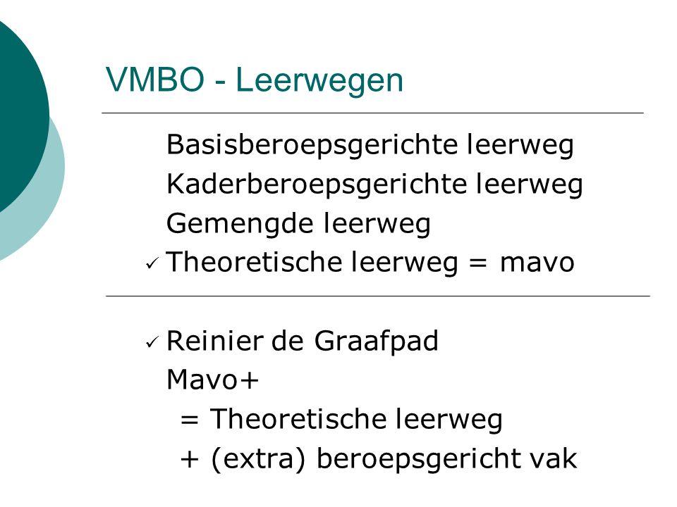 VMBO - Leerwegen Basisberoepsgerichte leerweg Kaderberoepsgerichte leerweg Gemengde leerweg Theoretische leerweg = mavo Reinier de Graafpad Mavo+ = Theoretische leerweg + (extra) beroepsgericht vak