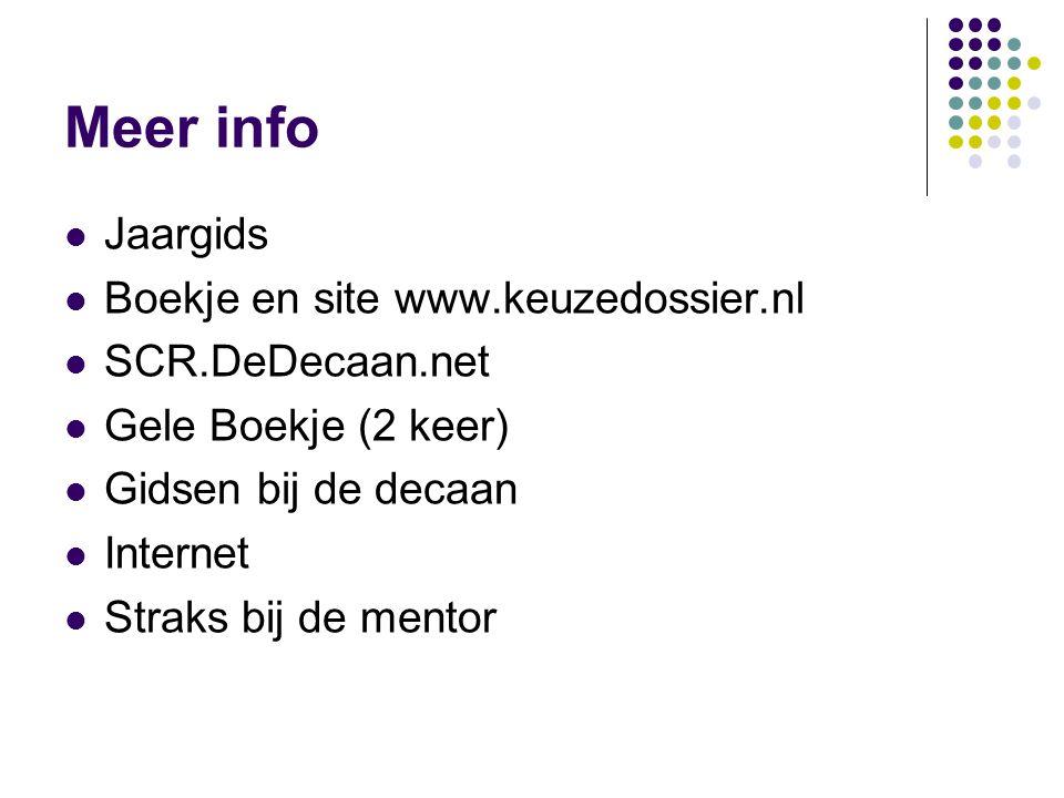 Meer info Jaargids Boekje en site www.keuzedossier.nl SCR.DeDecaan.net Gele Boekje (2 keer) Gidsen bij de decaan Internet Straks bij de mentor