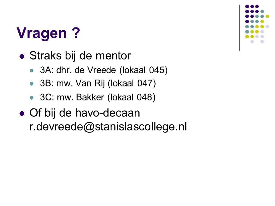 Vragen .Straks bij de mentor 3A: dhr. de Vreede (lokaal 045) 3B: mw.