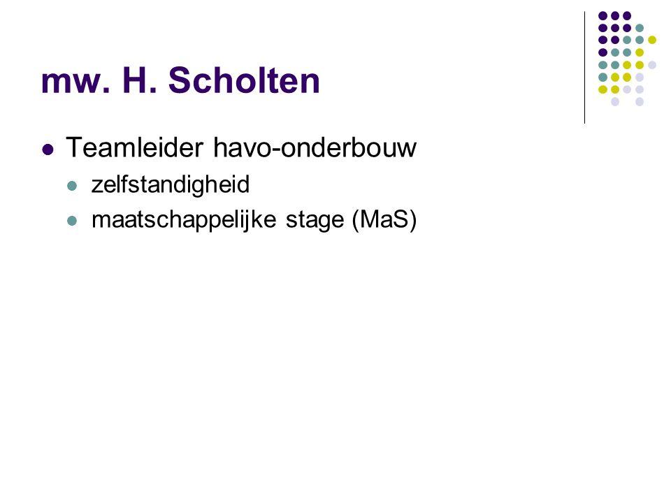 mw. H. Scholten Teamleider havo-onderbouw zelfstandigheid maatschappelijke stage (MaS)