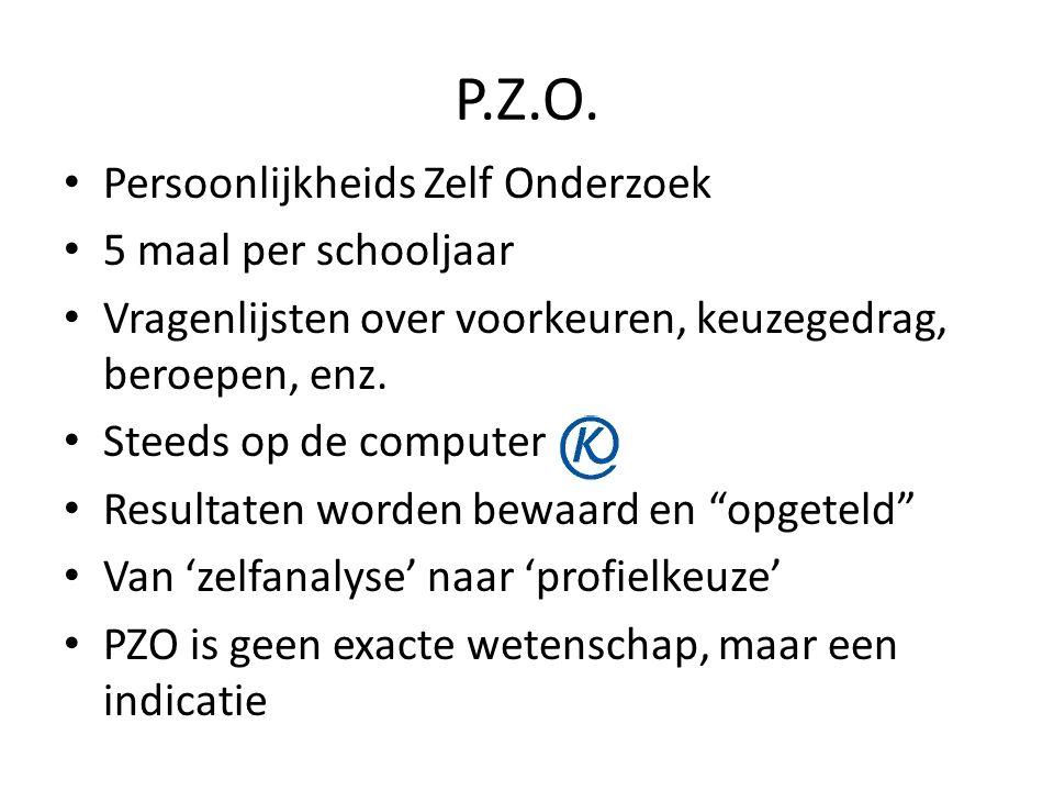 P.Z.O. Persoonlijkheids Zelf Onderzoek 5 maal per schooljaar Vragenlijsten over voorkeuren, keuzegedrag, beroepen, enz. Steeds op de computer Resultat