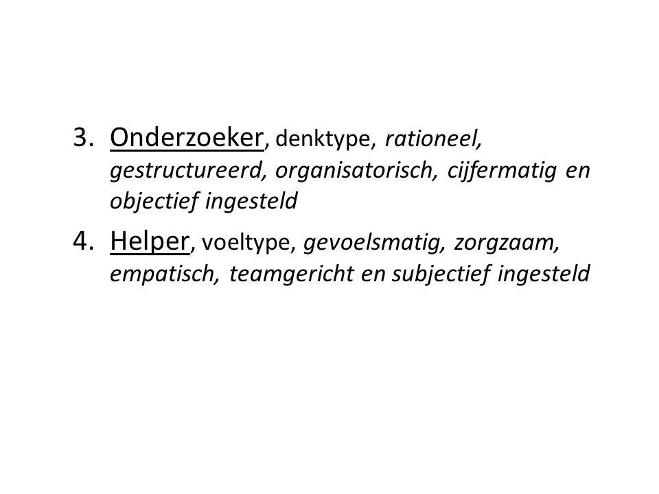 3.Onderzoeker, denktype, rationeel, gestructureerd, organisatorisch, cijfermatig en objectief ingesteld 4.Helper, voeltype, gevoelsmatig, zorgzaam, em