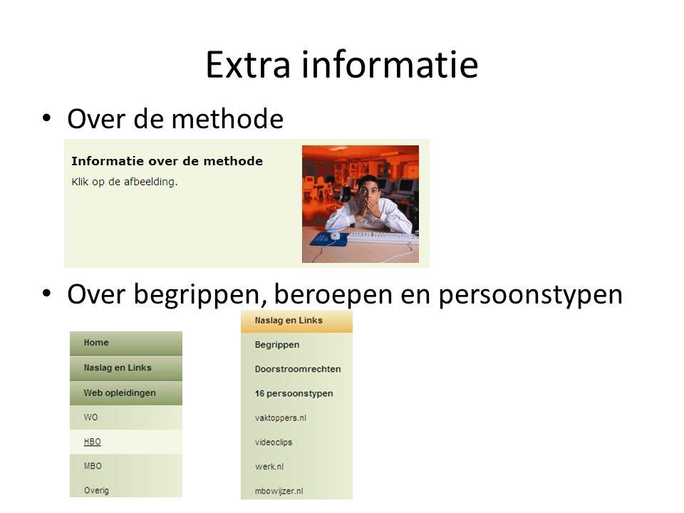 Extra informatie Over de methode Over begrippen, beroepen en persoonstypen