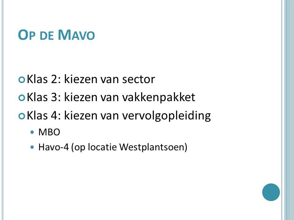 O P DE M AVO Klas 2: kiezen van sector Klas 3: kiezen van vakkenpakket Klas 4: kiezen van vervolgopleiding MBO Havo-4 (op locatie Westplantsoen)