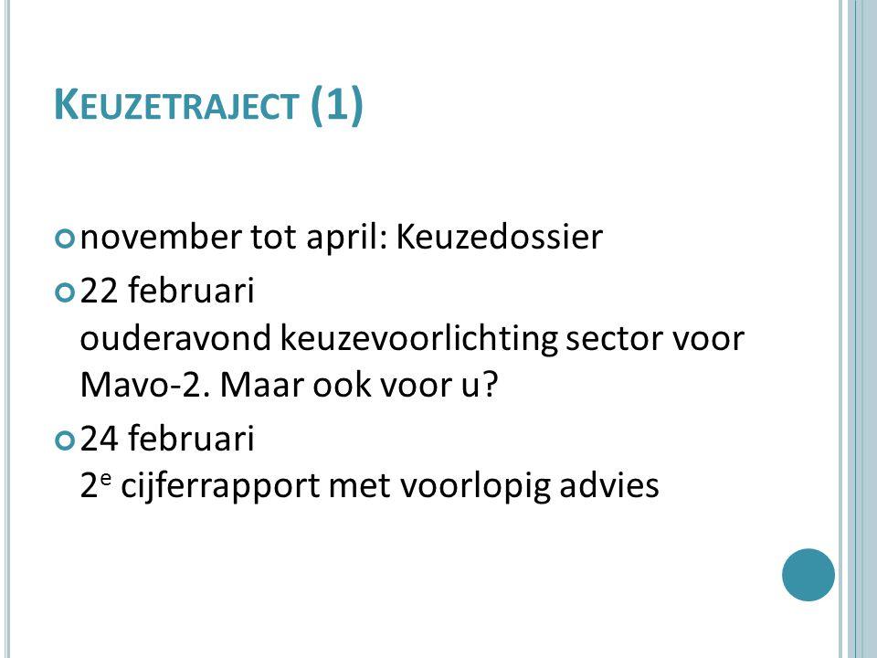K EUZETRAJECT (1) november tot april: Keuzedossier 22 februari ouderavond keuzevoorlichting sector voor Mavo-2.