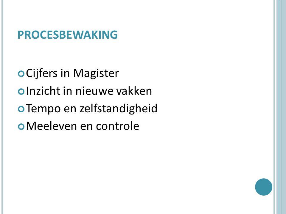 PROCESBEWAKING Cijfers in Magister Inzicht in nieuwe vakken Tempo en zelfstandigheid Meeleven en controle