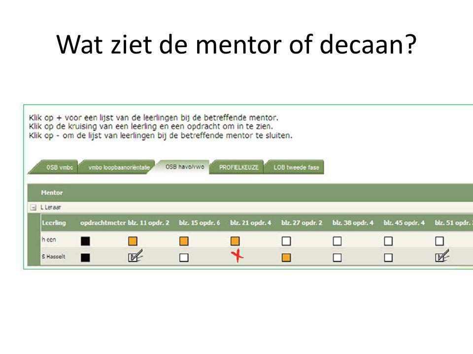 Wat ziet de mentor of decaan?