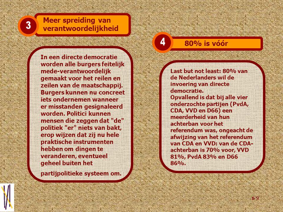 5/9 Wanneer burgers direct mogen meebeslissen over politieke onderwerpen, zijn zij meer gemotiveerd om zich met politiek bezig te houden.
