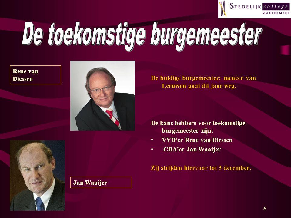6 De huidige burgemeester: meneer van Leeuwen gaat dit jaar weg.