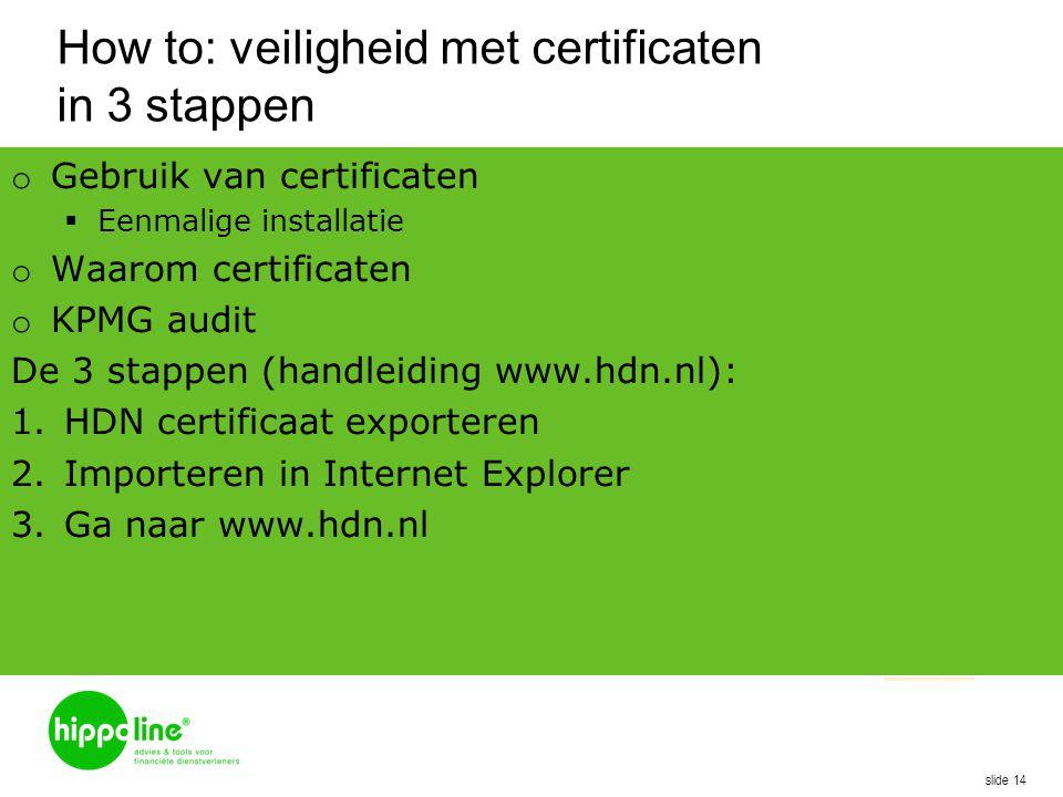 How to: veiligheid met certificaten in 3 stappen o Gebruik van certificaten  Eenmalige installatie o Waarom certificaten o KPMG audit De 3 stappen (h