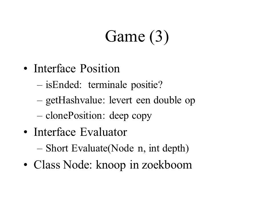 Game (4) Zetgenerator produceert een instantie van de interface MoveEnumerator –Short getMove() – eerste zet –Short nextMove() – volgende zet –Player.NOMOVE == geen zet meer Gebruik bijvoorbeeld: –Class MoveSet (gebaseerd op Vector)