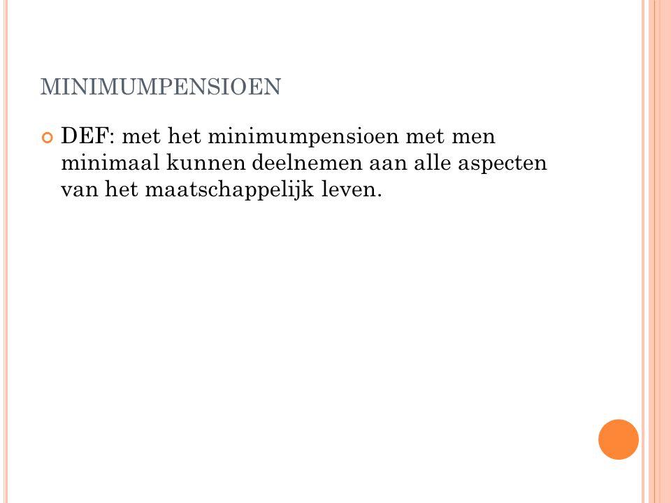MINIMUMPENSIOEN DEF: met het minimumpensioen met men minimaal kunnen deelnemen aan alle aspecten van het maatschappelijk leven.