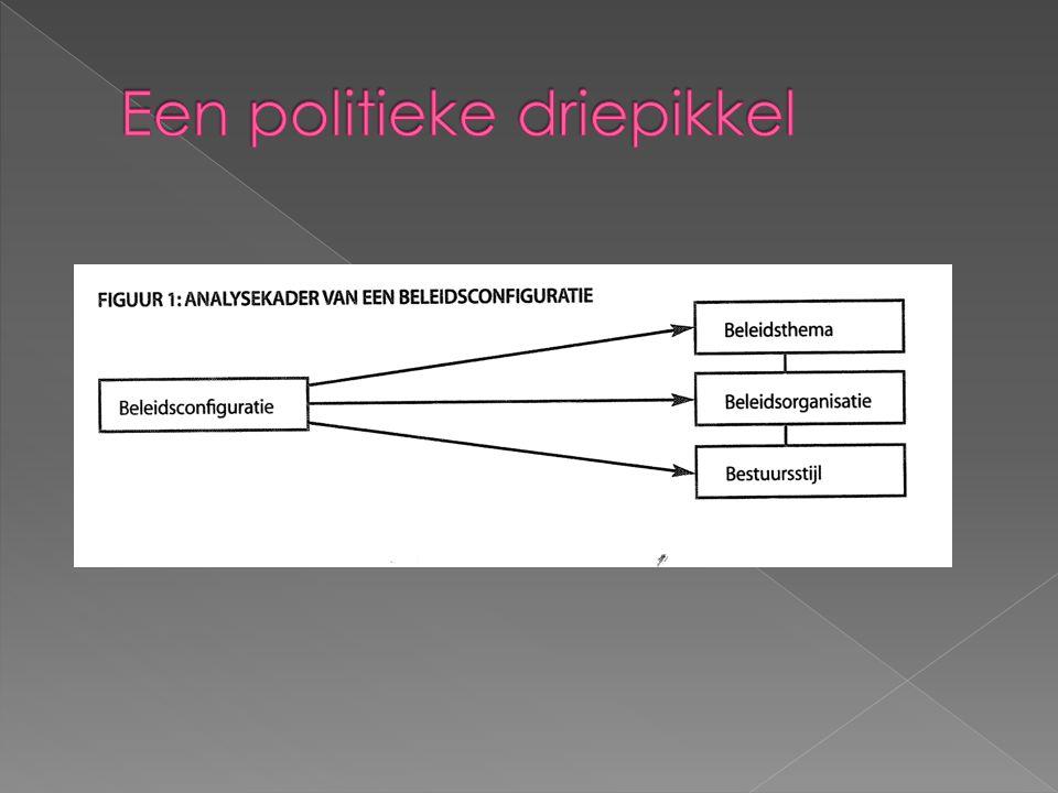 Het beleidsthema -het onderwerp van beleid -belangrijk om rekening te houden met verschillende visies van betrokken actoren De beleidsorganisatie: -groepeert alle elementen die te maken hebben met de manier waarop de overheid zijn beleid uitwerkt -Hoe verlopen bevoegdheden.