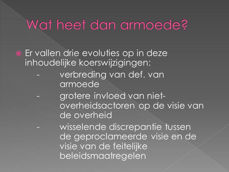  Jaren '70-'80: meer stemmen voor een integrale beleidsaanpak  Ontstaan coördinatiestructuren zoals Vlaamse Intersectorale Commissie Armoedebestrijding (VICA) en het Perkament Armoedeoverleg (PAO)