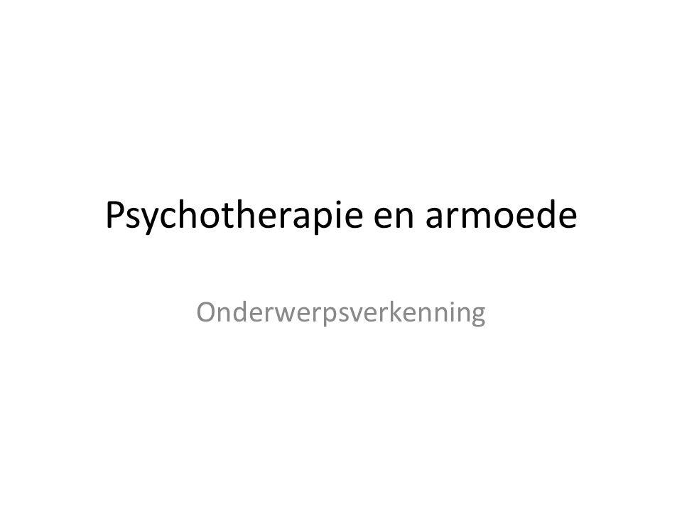 Psychotherapie en armoede Onderwerpsverkenning