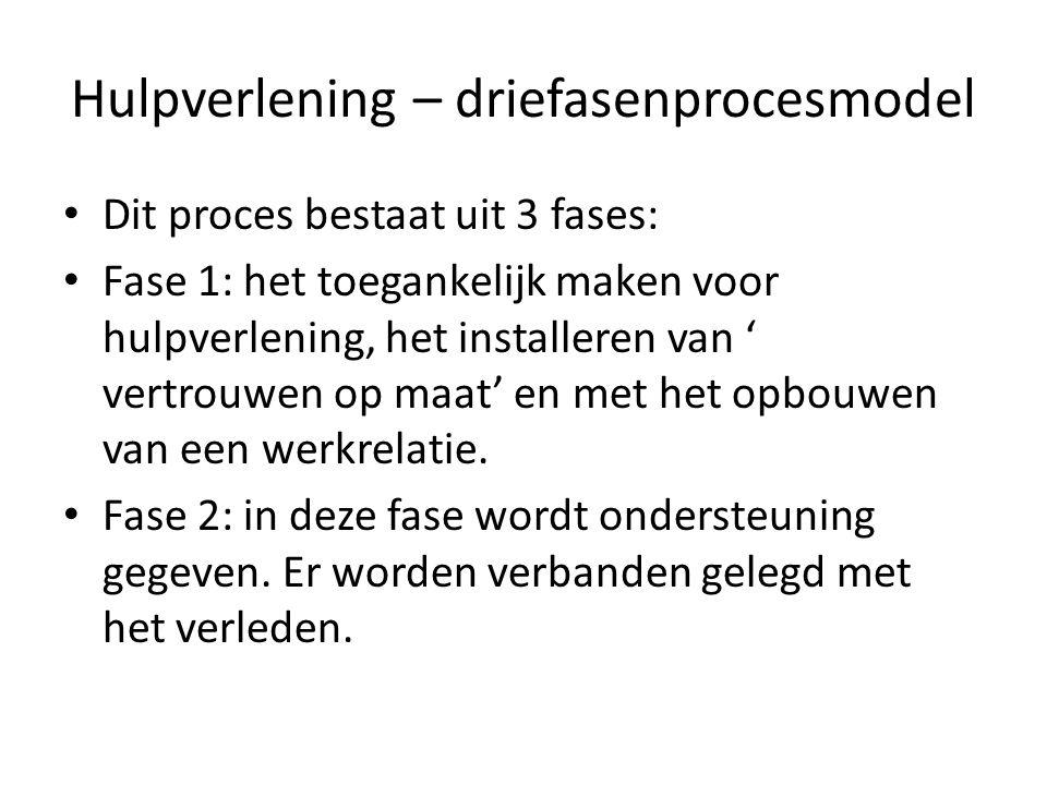 Hulpverlening – driefasenprocesmodel Dit proces bestaat uit 3 fases: Fase 1: het toegankelijk maken voor hulpverlening, het installeren van ' vertrouw