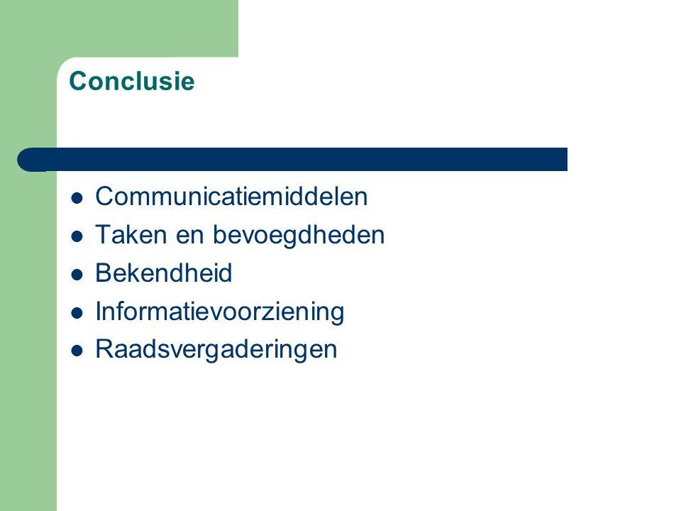 Conclusie Communicatiemiddelen Taken en bevoegdheden Bekendheid Informatievoorziening Raadsvergaderingen