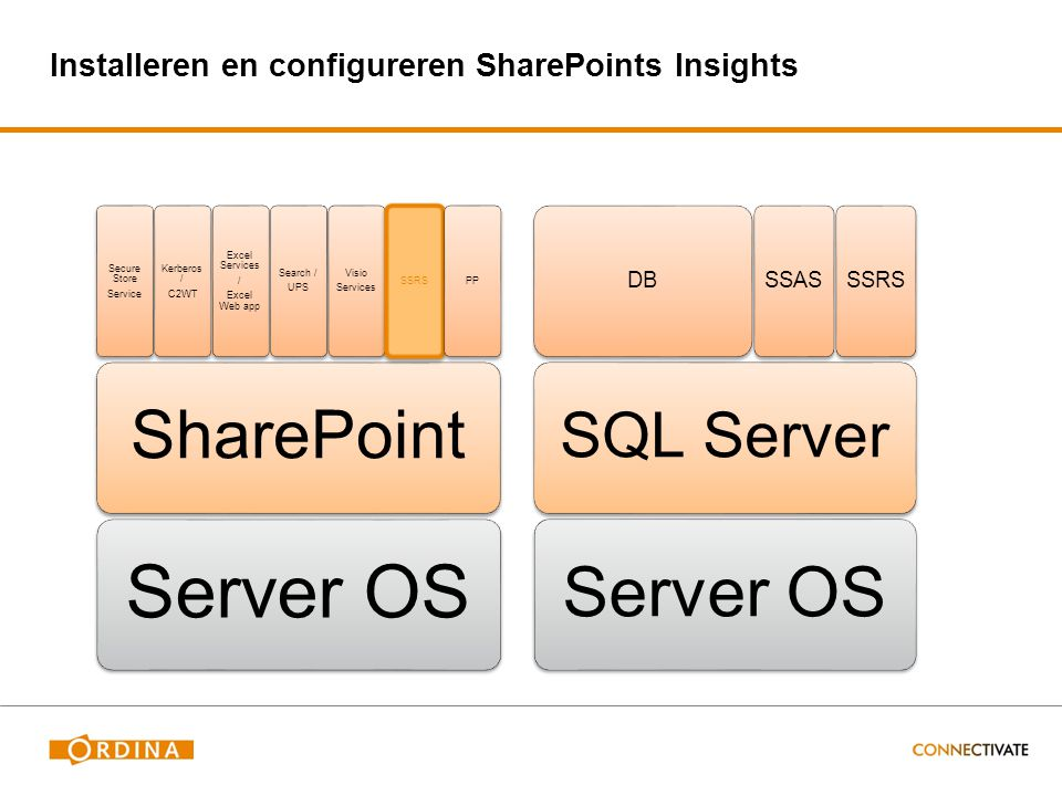 Installeren en configureren SharePoints Insights Server OS SharePoint Secure Store Service Kerberos / C2WT Excel Services / Excel Web app Search / UPS