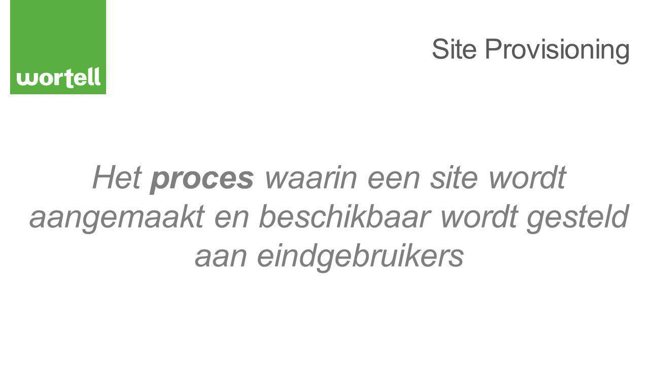 Het proces waarin een site wordt aangemaakt en beschikbaar wordt gesteld aan eindgebruikers