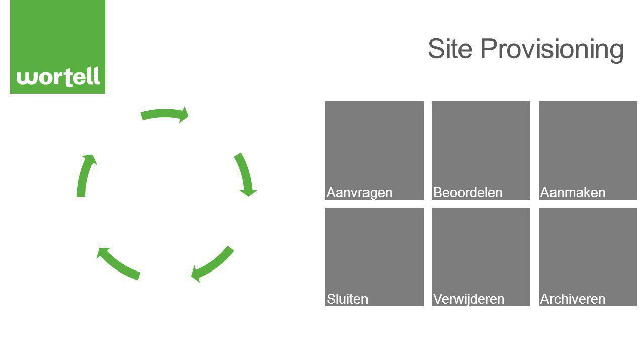 Site Siteverzameling Self-service Site Creation Quota Web Templates Site Templates Site Definitions Confirm Site use & Deletion Site Closure Site Policies