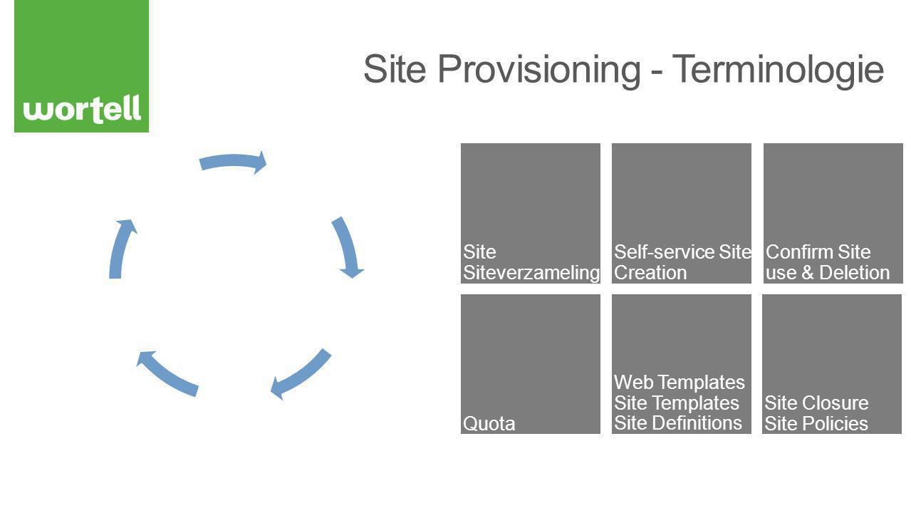 MySite biedt centrale ingang tot deze functionaliteit Nieuwe standaard pagina: selfservicecreate.aspx Oude werkt nog steeds: scsignup.aspx als je de URL weet… Nu ook voor het aanmaken van subsites Custom pagina configureren Keuze voor toepassen Site Policy bij aanmaken Verplicht of Optioneel Zowel siteverzamelingen als subsites Alleen voor sites aanmaken via SSSC (custom) UI