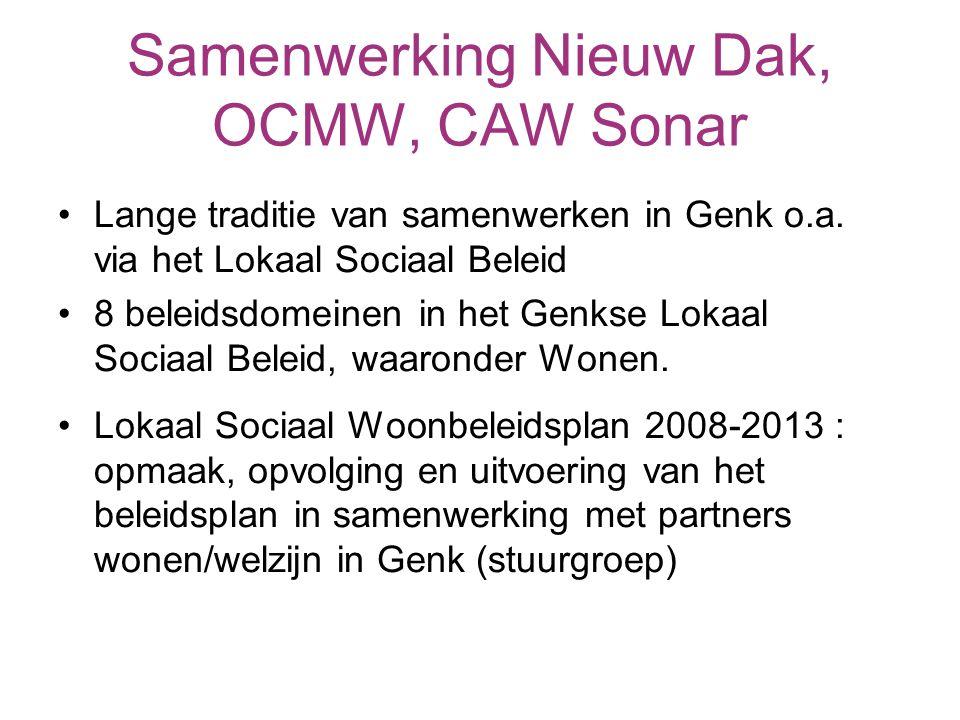Samenwerking Nieuw Dak, OCMW, CAW Sonar Lange traditie van samenwerken in Genk o.a.