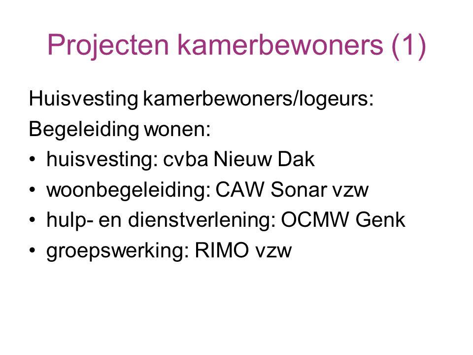 Projecten kamerbewoners (1) Huisvesting kamerbewoners/logeurs: Begeleiding wonen: huisvesting: cvba Nieuw Dak woonbegeleiding: CAW Sonar vzw hulp- en dienstverlening: OCMW Genk groepswerking: RIMO vzw