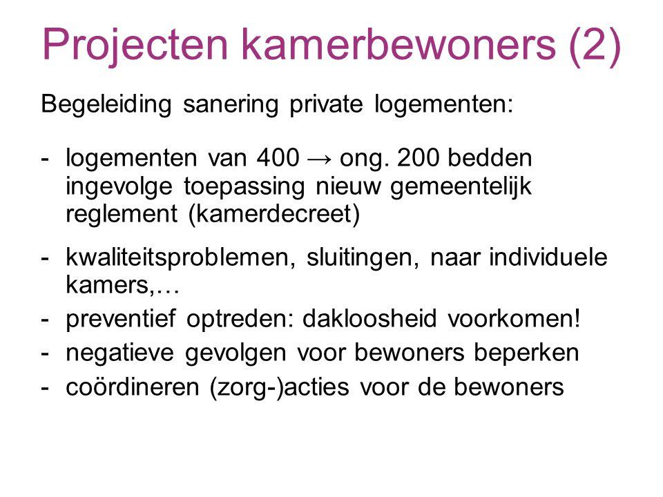 Projecten kamerbewoners (2) Begeleiding sanering private logementen: - logementen van 400 → ong.