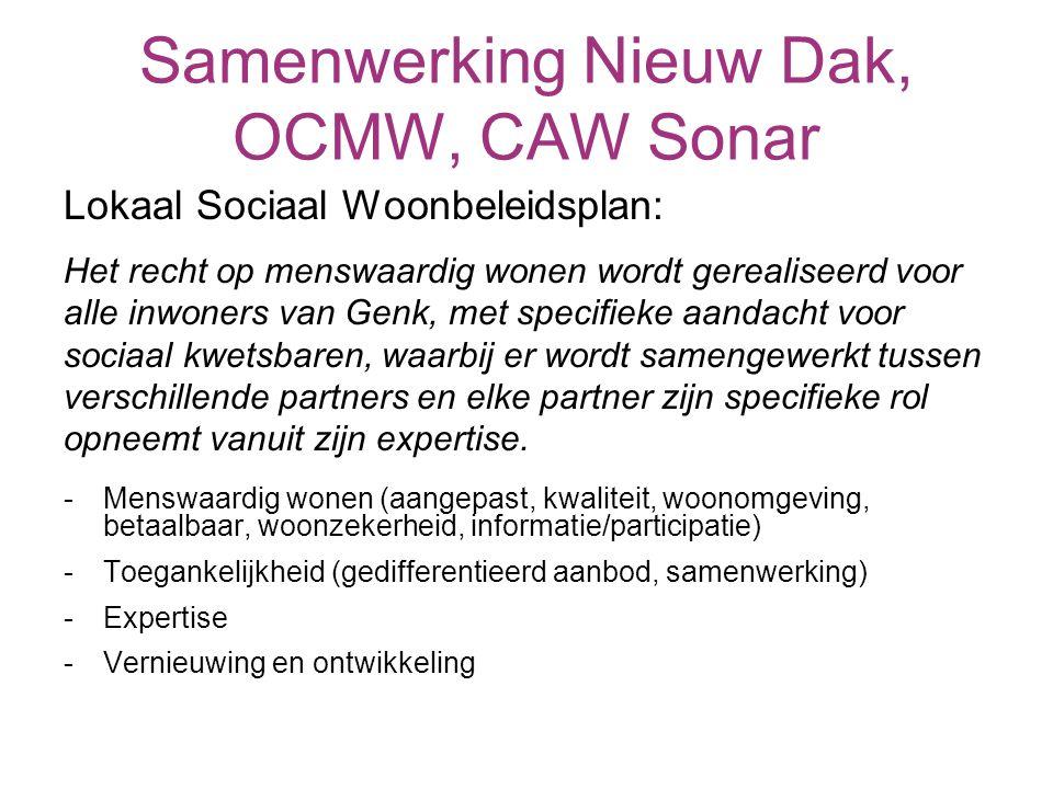 Samenwerking Nieuw Dak, OCMW, CAW Sonar Lokaal Sociaal Woonbeleidsplan: Het recht op menswaardig wonen wordt gerealiseerd voor alle inwoners van Genk, met specifieke aandacht voor sociaal kwetsbaren, waarbij er wordt samengewerkt tussen verschillende partners en elke partner zijn specifieke rol opneemt vanuit zijn expertise.