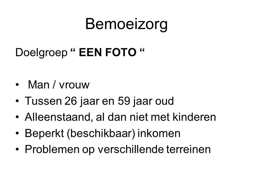 Bemoeizorg Doelgroep EEN FOTO Man / vrouw Tussen 26 jaar en 59 jaar oud Alleenstaand, al dan niet met kinderen Beperkt (beschikbaar) inkomen Problemen op verschillende terreinen