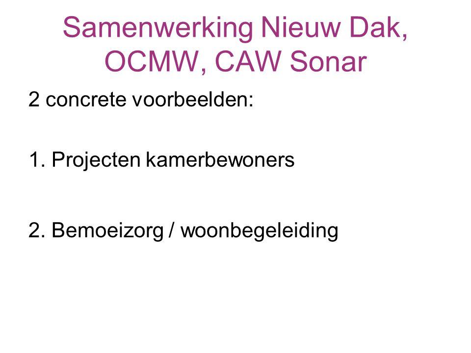 Woonbegeleiding Toeleiding: OCMW, sociale huisvesting (SHM en SVK), residentiële opvangcentra, hulpvraag cliënt, andere welzijnsdiensten… Samenwerking: lokaal cliëntoverleg (LCO)