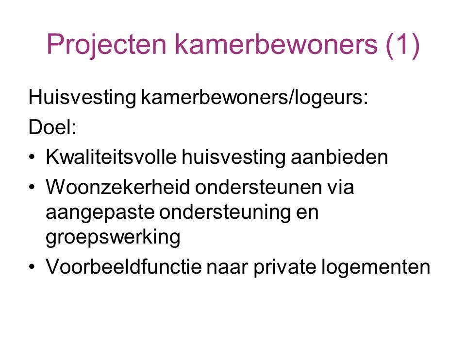 Projecten kamerbewoners (1) Huisvesting kamerbewoners/logeurs: Doel: Kwaliteitsvolle huisvesting aanbieden Woonzekerheid ondersteunen via aangepaste ondersteuning en groepswerking Voorbeeldfunctie naar private logementen