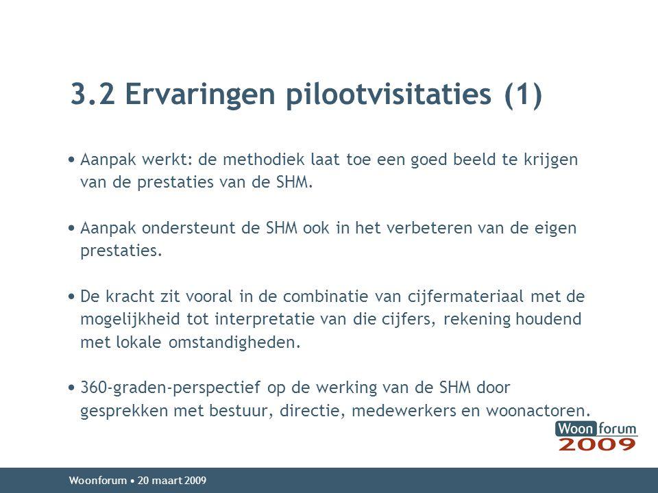 3.2 Ervaringen pilootvisitaties (1) Aanpak werkt: de methodiek laat toe een goed beeld te krijgen van de prestaties van de SHM.