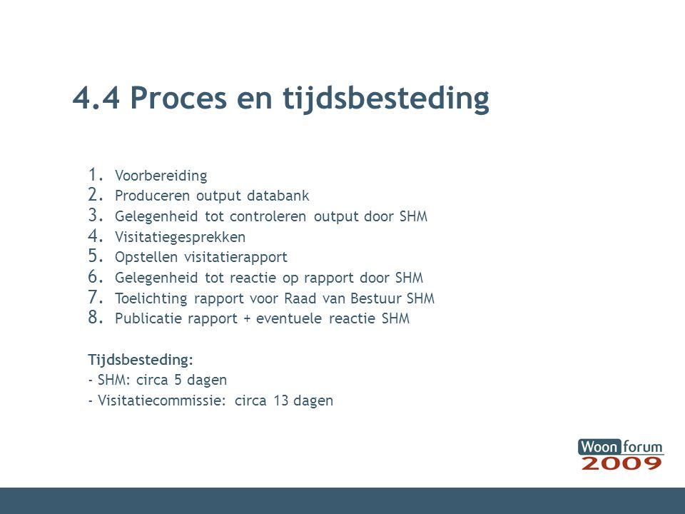 4.4 Proces en tijdsbesteding 1.Voorbereiding 2. Produceren output databank 3.