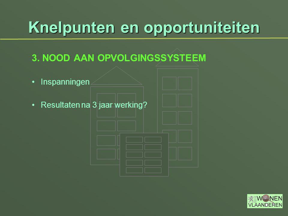 Knelpunten en opportuniteiten 3. NOOD AAN OPVOLGINGSSYSTEEM Inspanningen Resultaten na 3 jaar werking?
