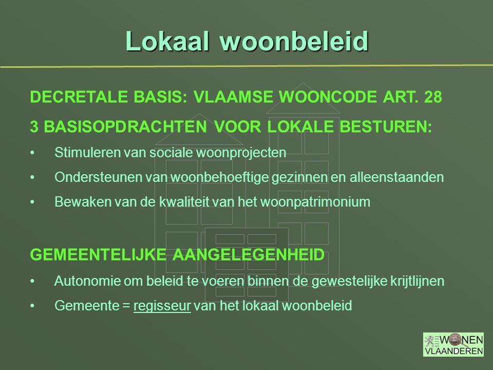 Lokaal woonbeleid DECRETALE BASIS: VLAAMSE WOONCODE ART. 28 3 BASISOPDRACHTEN VOOR LOKALE BESTUREN: Stimuleren van sociale woonprojecten Ondersteunen