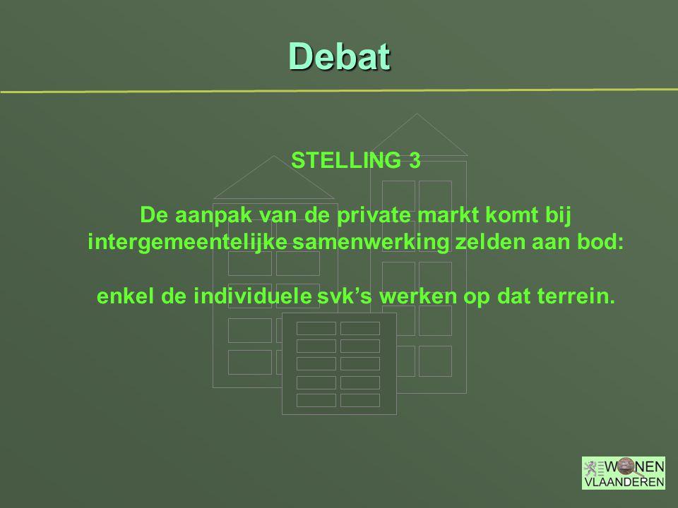 Debat STELLING 3 De aanpak van de private markt komt bij intergemeentelijke samenwerking zelden aan bod: enkel de individuele svk's werken op dat terrein.