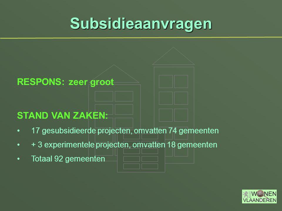 Subsidieaanvragen RESPONS: zeer groot STAND VAN ZAKEN: 17 gesubsidieerde projecten, omvatten 74 gemeenten + 3 experimentele projecten, omvatten 18 gemeenten Totaal 92 gemeenten