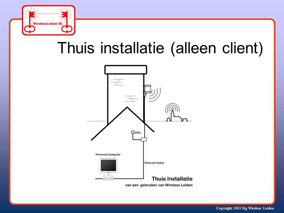 Copyright 2003 Stg Wireless Leiden Thuis installatie (alleen client)